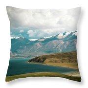 Lake Manasarovar Kailas Yantra.lv Tibet Throw Pillow