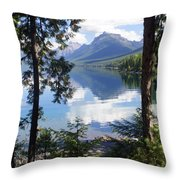 Lake Mcdlonald Through The Trees Glacier National Park Throw Pillow