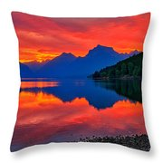 Lake Mcdonald Fiery Sunrise Throw Pillow