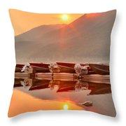 Lake Mcdonald Fiery Sunset Throw Pillow