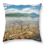 Lake Mcdonald In Glacier National Park At Sunset Throw Pillow