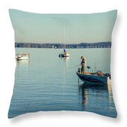 Lake Mendota Fishing Throw Pillow