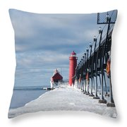 Lake Michigan Ice Throw Pillow