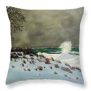 Lake Michigan In The Winter Throw Pillow