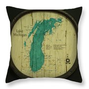 Lake Michigan Map Throw Pillow