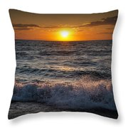 Lake Michigan Sunset With Crashing Shore Waves Throw Pillow