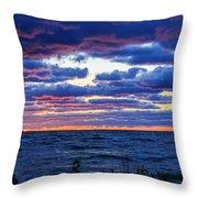 Lake Michigan Windy Sunrise Throw Pillow