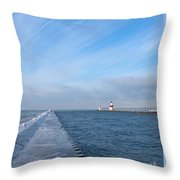 Lake Michigan Winter Throw Pillow