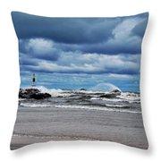 Lake Michigan With Big Wind  Throw Pillow