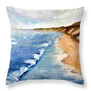 Lake Michigan With Whitecaps Ll Throw Pillow by Michelle Calkins