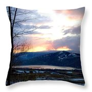 Lake Okanagan Sunset At Vernon Throw Pillow