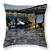 Lake Ontario Sunset At Toronto Center Island Pier In Winter With Throw Pillow