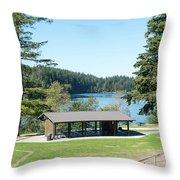 Lake Padden Picnic Shelter Throw Pillow