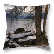 Lake Pend D'oreille At Humbird Ruins 1 Throw Pillow