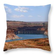 Lake Powell And Glen Canyon Dam Throw Pillow