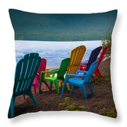 Lake Quinault Chairs Throw Pillow