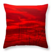 Lake Reeds And Red Sunset Throw Pillow
