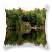 Lake Reflections Panorama 4370 4371 Throw Pillow