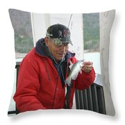 Lake Sardis Fisherman Throw Pillow