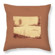 Lake Scene On Parchment Throw Pillow