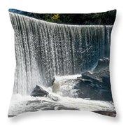 Lake Sequoyah Dam Falls - Highlands, North Carolina Throw Pillow