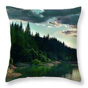 Lake Shasta Painterly Throw Pillow