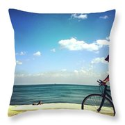 Lake Shore Bike, Blue Sky Water Horizon, Chicago Throw Pillow