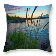 Lake Sunset And Sedge Grass Silhouettes, Pocono Mountains Throw Pillow