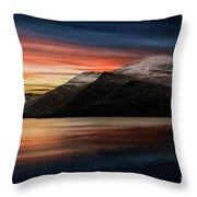 Lake Sunset Snowdonia Throw Pillow
