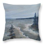 Lake Superior North Shore Waves  Throw Pillow