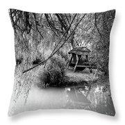 Lake Swing - Black And White Throw Pillow