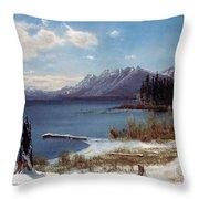 Lake Tahoe Throw Pillow by Albert Bierstadt