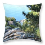 Lake Tahoe And Boulders Throw Pillow