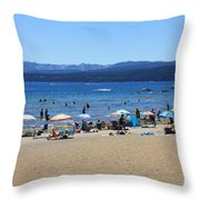 Lake Tahoe Beach Scene Throw Pillow