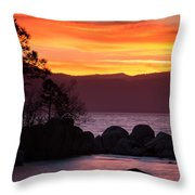 Lake Tahoe Sunset Colors Throw Pillow