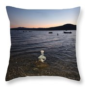 Lake Tahoe Sunset With Rocks And Black Framing Throw Pillow