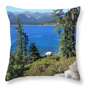 Lake Tahoe With Mountains Throw Pillow
