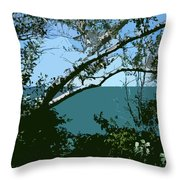 Lake Through The Trees Throw Pillow by Michelle Calkins