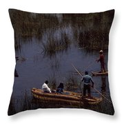 Lake Titicaca Reed Boats Throw Pillow