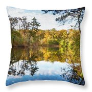 Lake Waterford Fall - Watercolor Fx Throw Pillow