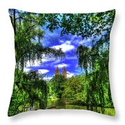 Lakeboat In Central Park Too Throw Pillow