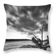 Lakeshore Winter Clouds Throw Pillow