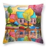 Lakeside Dream House Throw Pillow