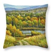 Lakeside Trail In Autumn Throw Pillow