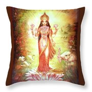 Lakshmi Goddess Of Fortune And Prosperity Throw Pillow