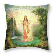 Lakshmi With The Waterfall 2 Throw Pillow