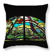 Lamb Stained Glass Window Throw Pillow