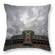 Lambeau Field Clouds Throw Pillow