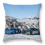 Lamborghini Aventador Sv And Ferrari F12 Tdf Throw Pillow