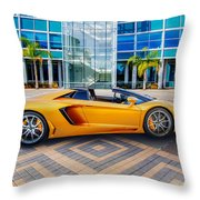 Lamborghini Gold Throw Pillow